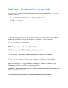 Worksheet - Alcohol and the Human Body