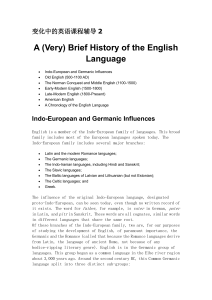 (Very) Brief History of the English Language