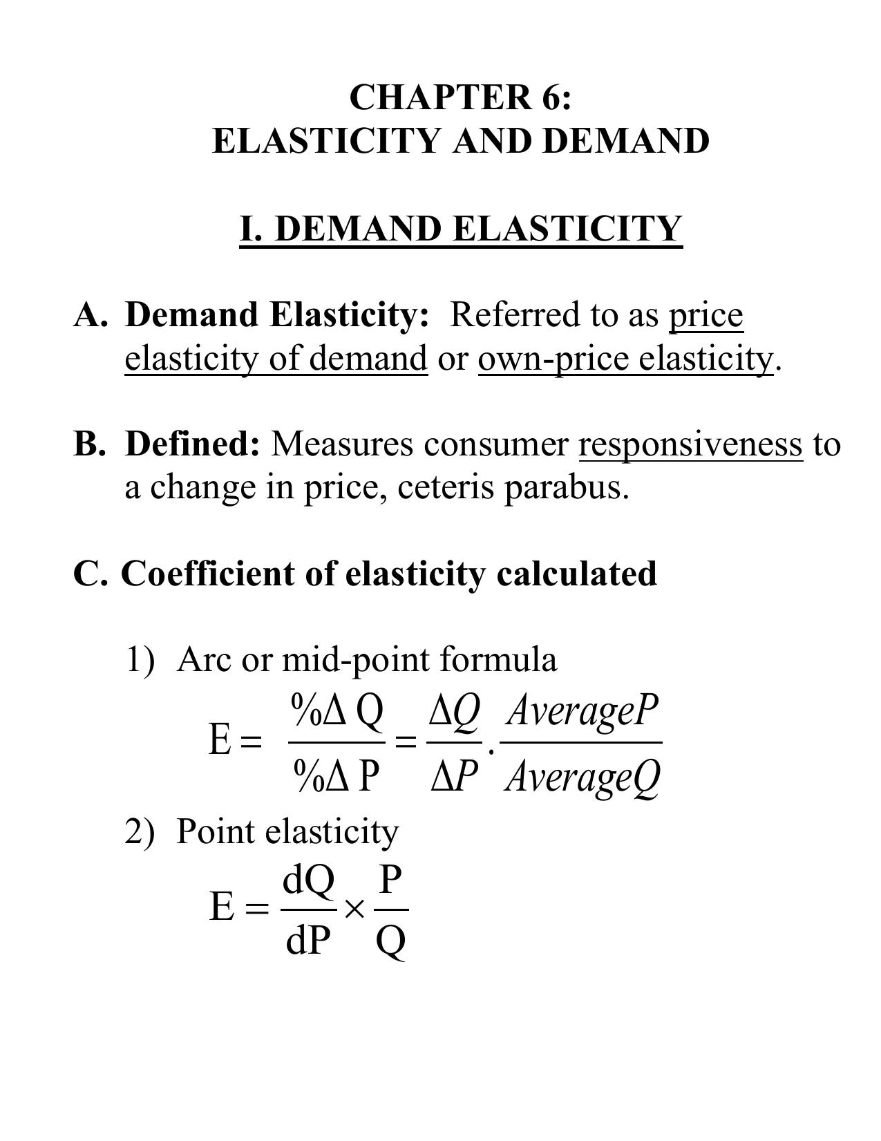 arc price elasticity of demand formula