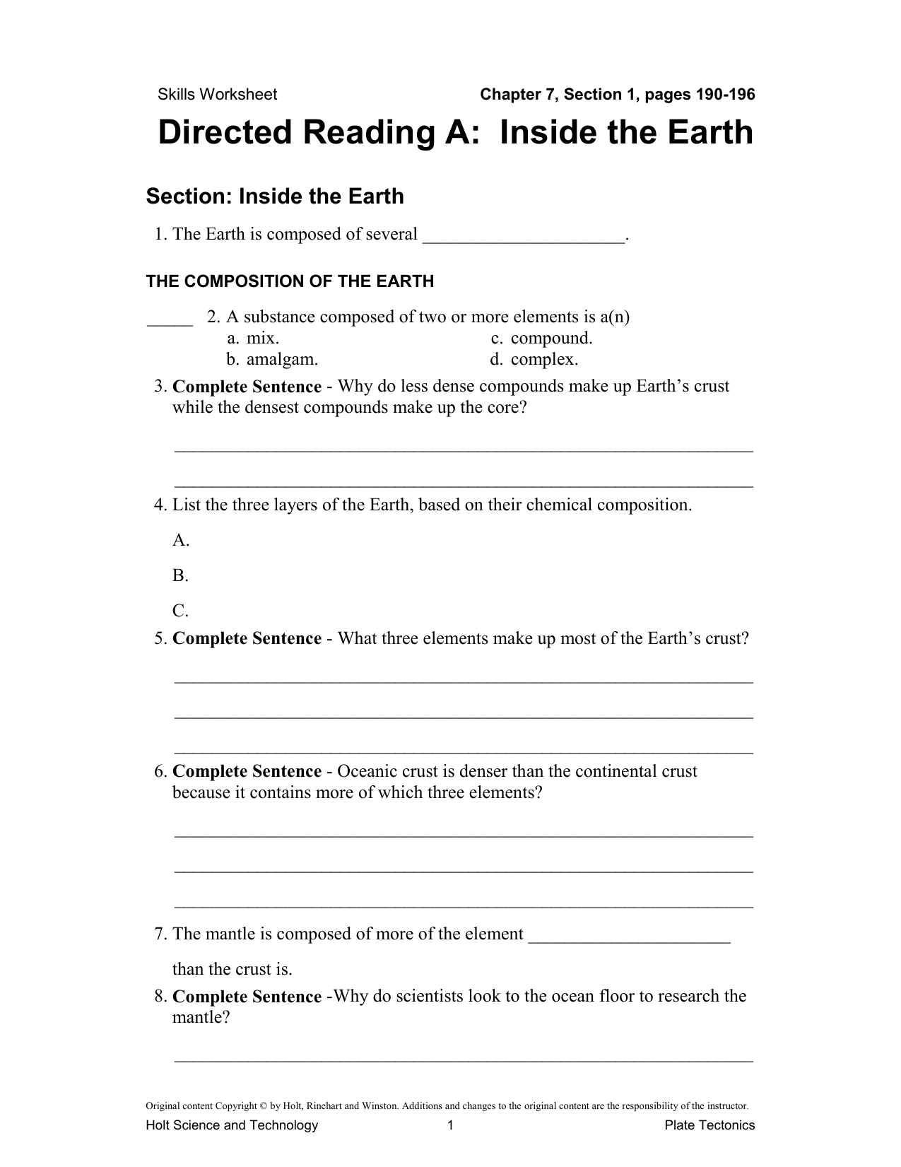 Holt Earth Science Directed Reading Workbook Answers - The ...