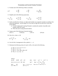 Permutations and Factorial Notation Worksheet