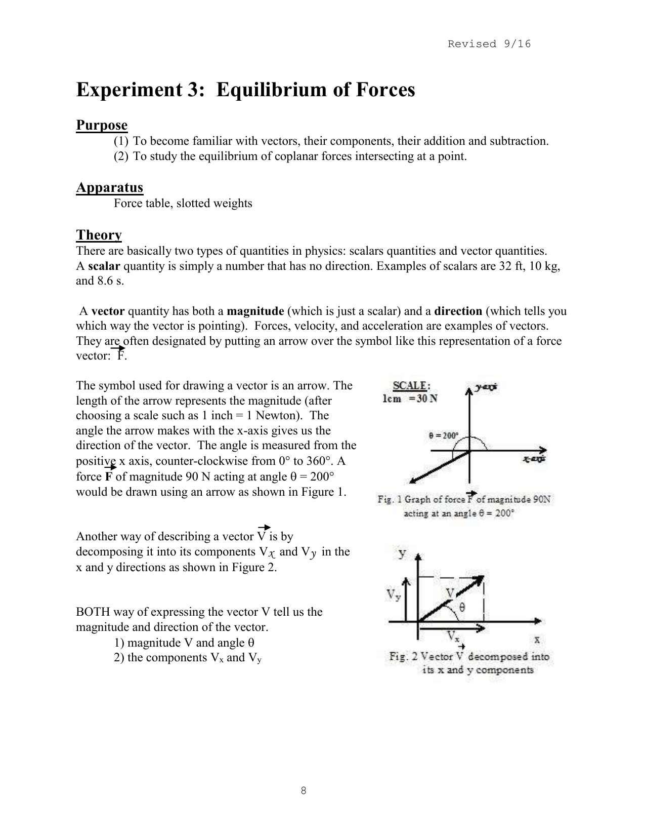 Experiment 3c Equilibrium Of Concurrent Forces Addition