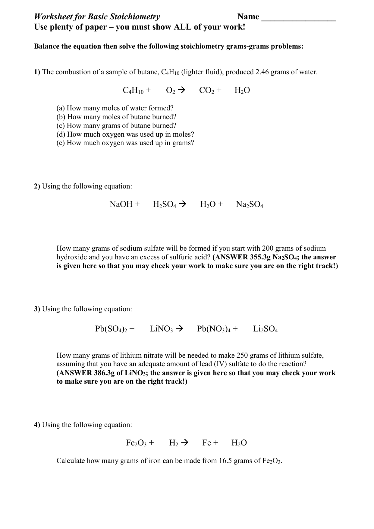 Worksheet For Basic Stoichiometry