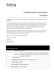 Final Report - Rufford Small Grants