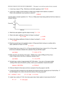 PHYSICS FORCES TEST REVIEW WORKSHEET