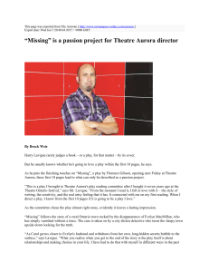 """Missing"" is a passion project for Theatre Aurora director : The"