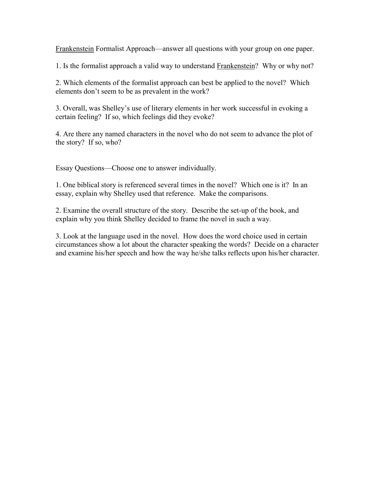 frankenstein for st approach answer all questions your