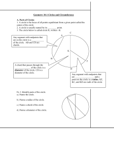 Geometry 10-1 Circles and Circumference
