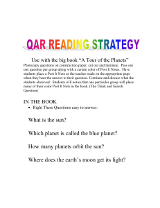 "Use with the big book ""A Tour of the Planets"" Photocopy questions"