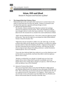 Islam, ISIS and Jihad Session 4: Purpose and Function of Jihad I