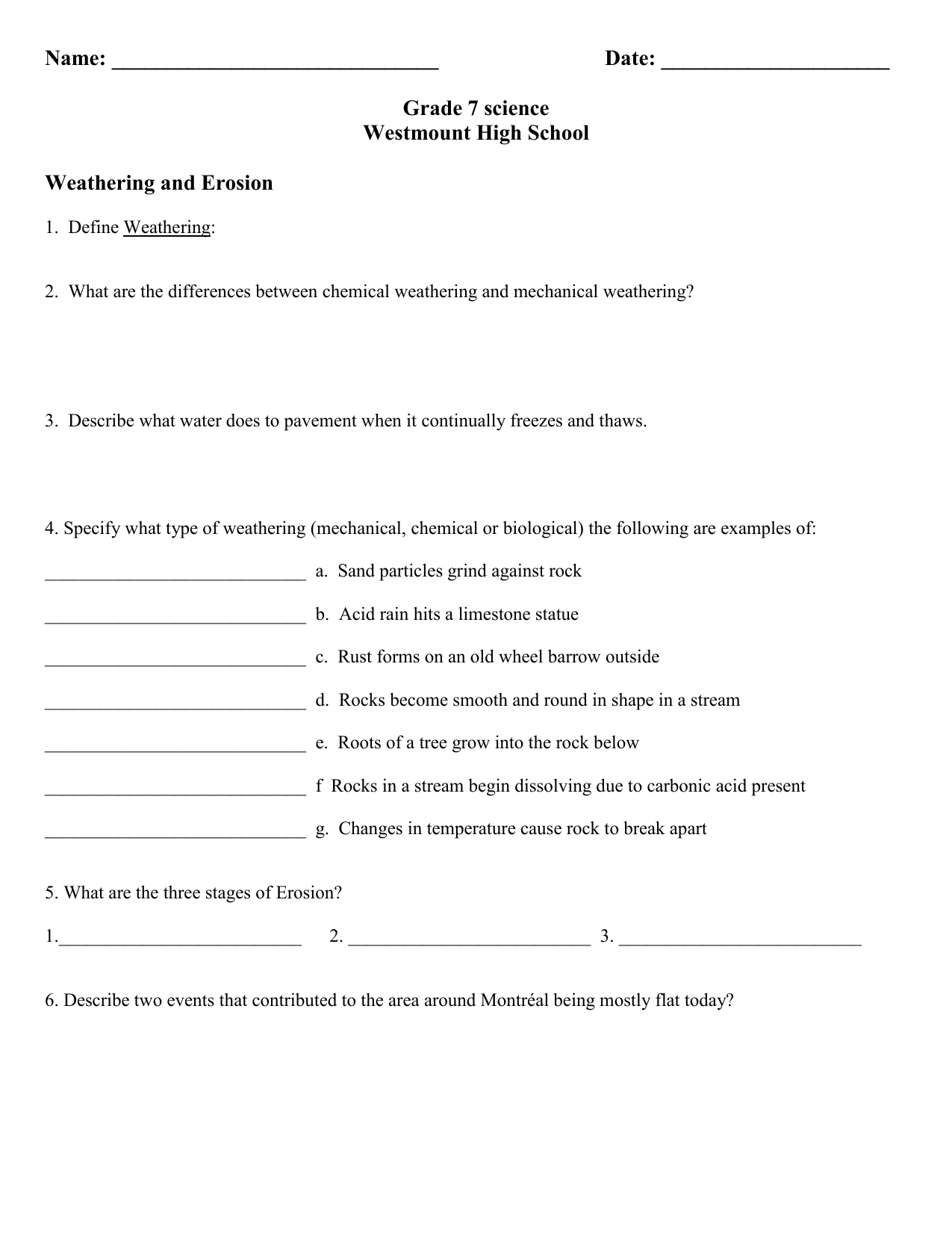 Weathering worksheet modified