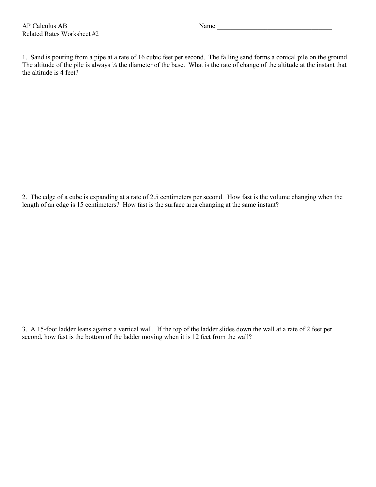 Worksheets Related Rates Worksheet related rates worksheet 2