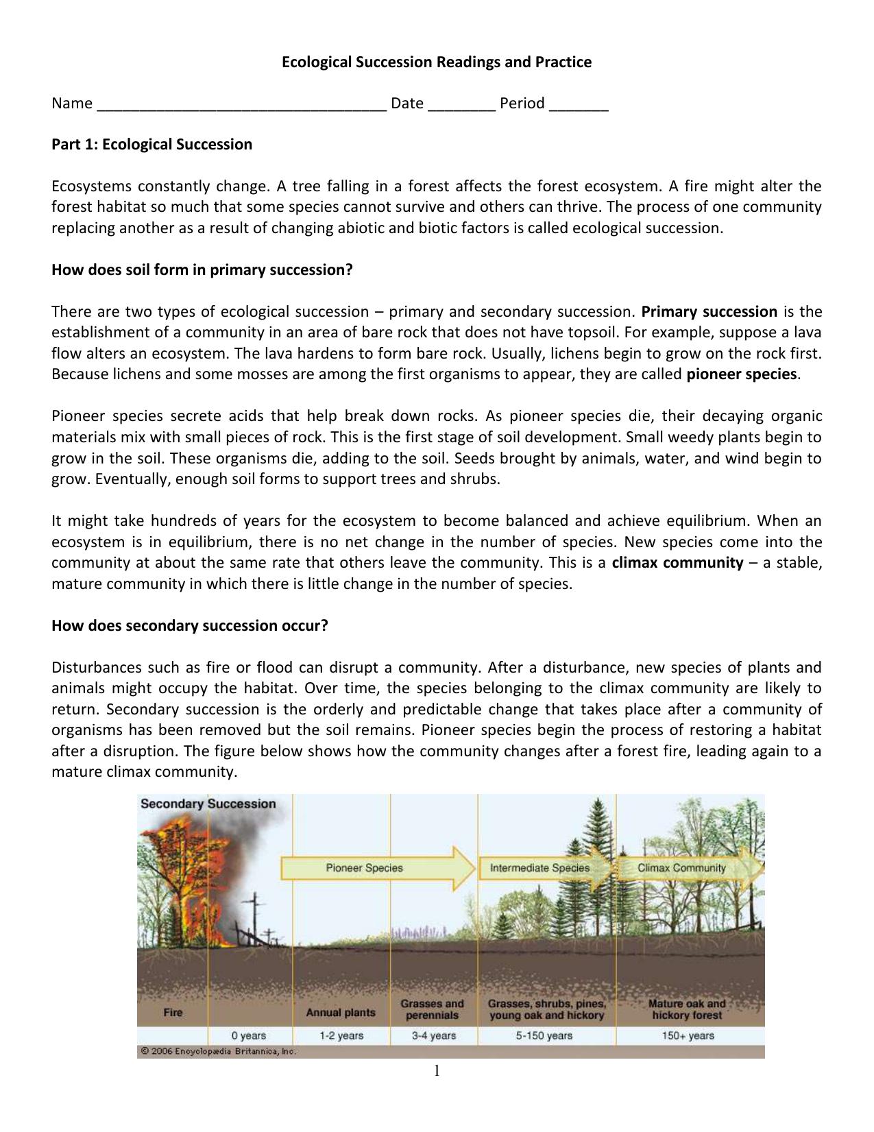 Worksheets Ecological Succession Worksheet ecological succession worksheet