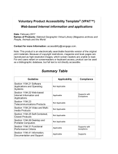 VPAT Web Based Internet Information and Applications
