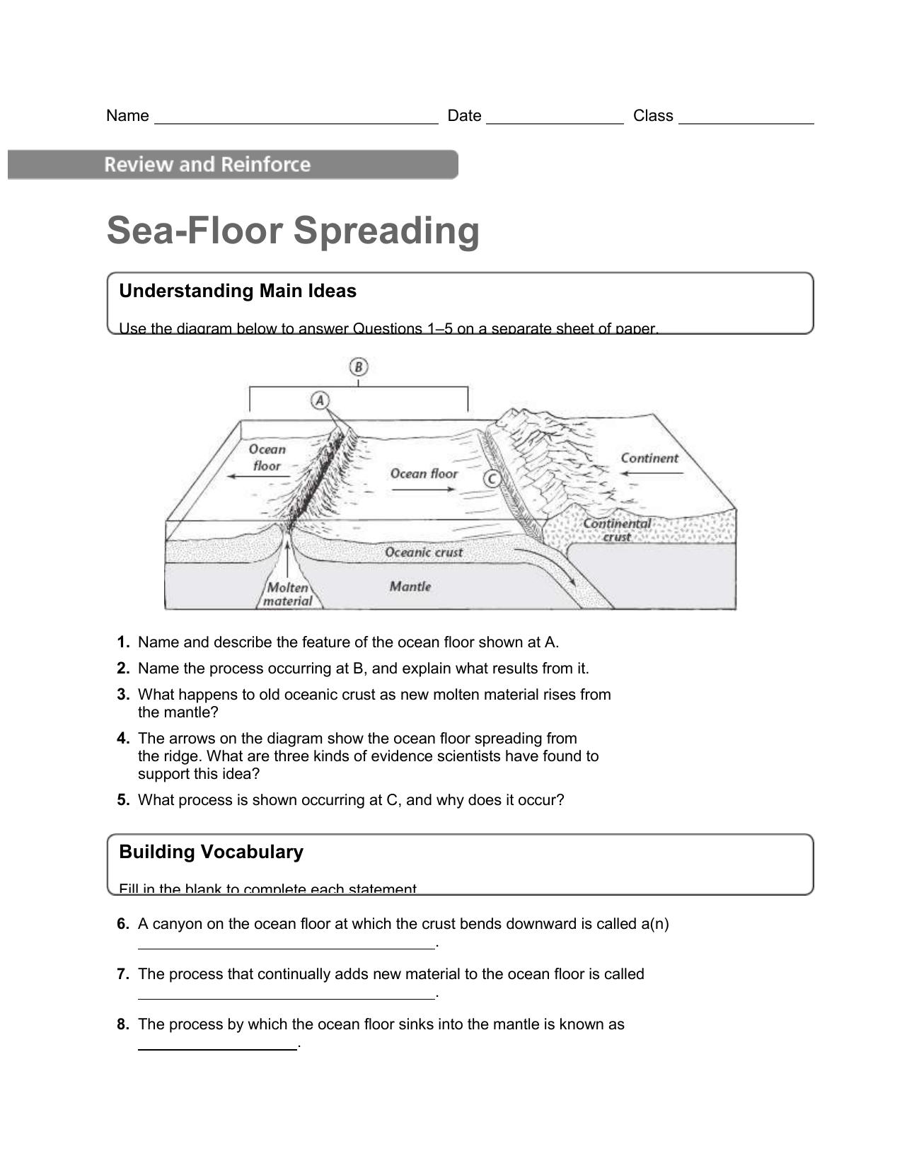 Worksheets Sea Floor Spreading Worksheet sea floor spreading homework