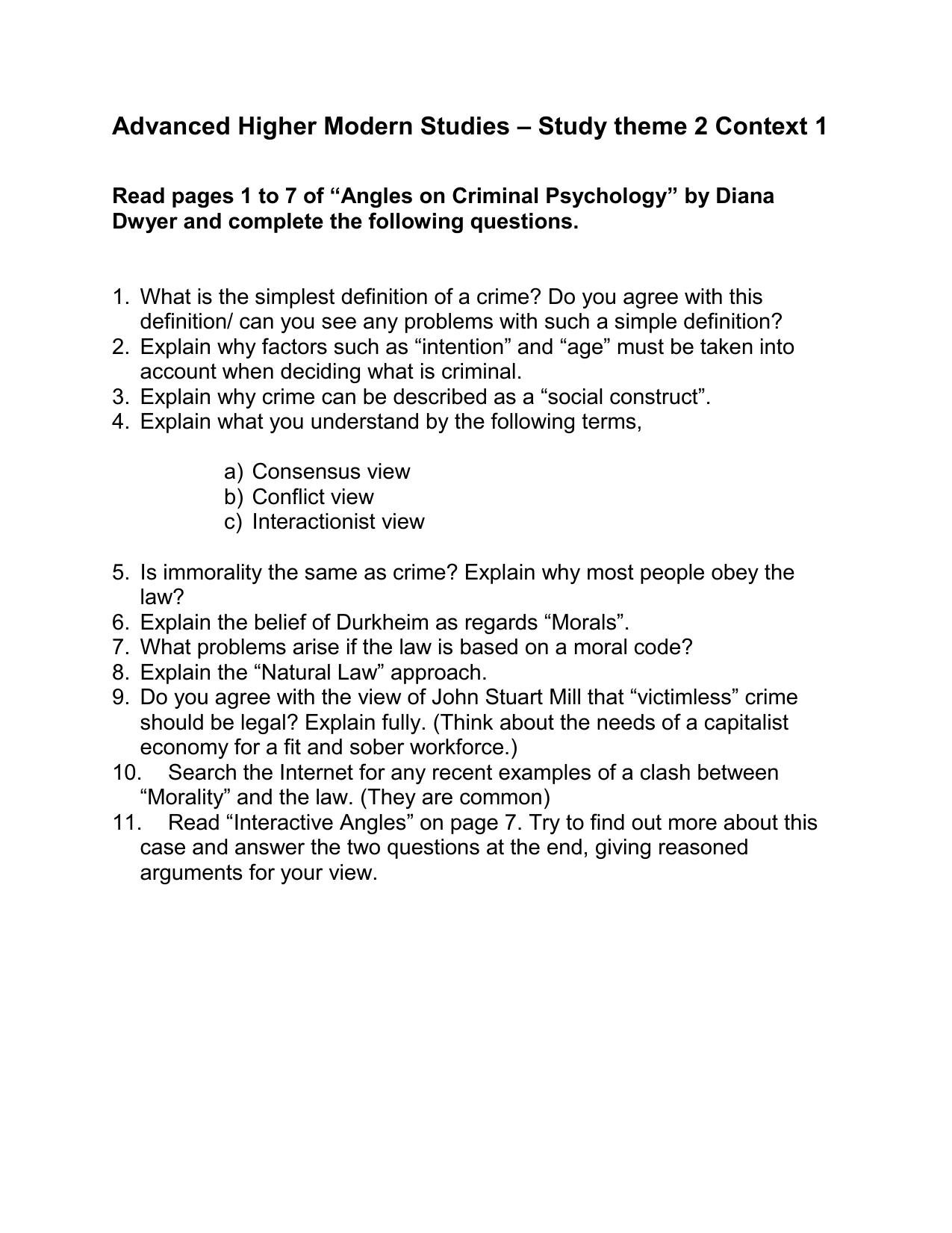 criminal psychology questions