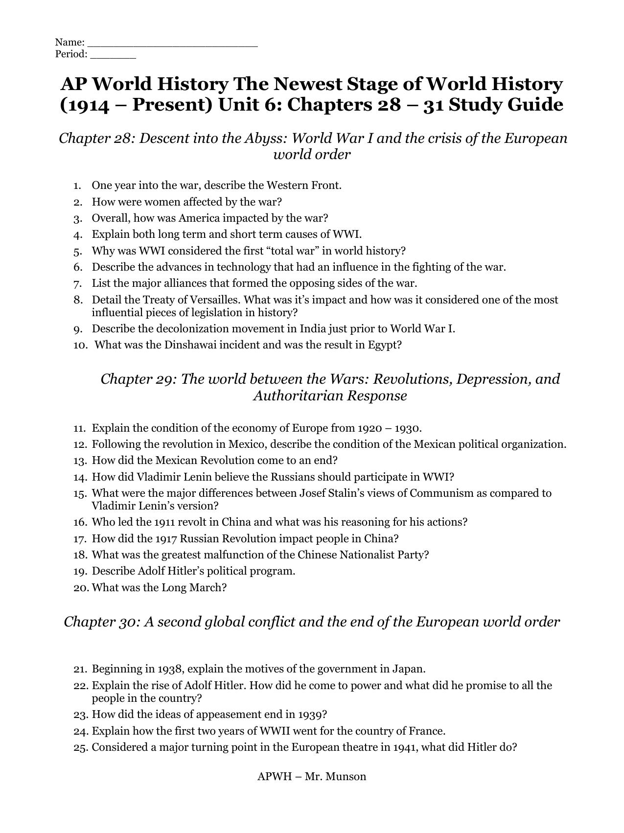 ap euro chapter 30 quizlet