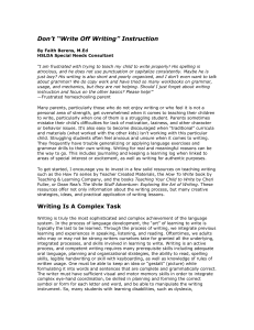 "Don`t ""Write Off Writing"" Instruction - Homeschool"