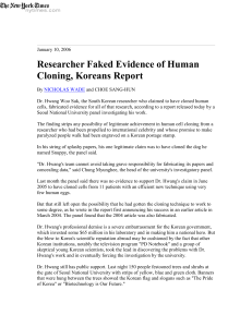 Researcher Faked Evidence of Human Cloning, Koreans Report
