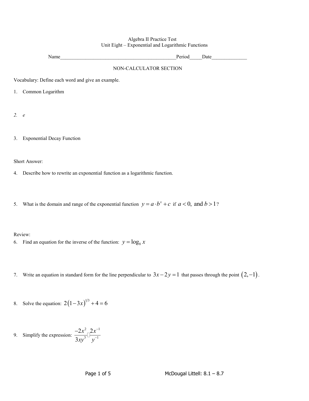 Algebra ii practice test unit eight exponential and logarithmic falaconquin