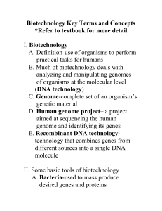 Biotechnology Key Terms and Concepts