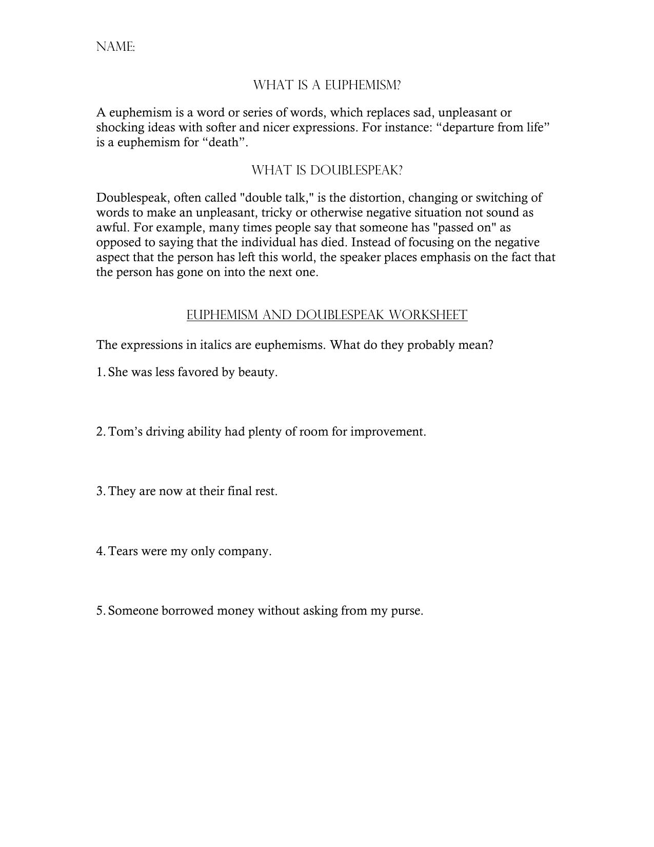 the world of doublespeak worksheet answers