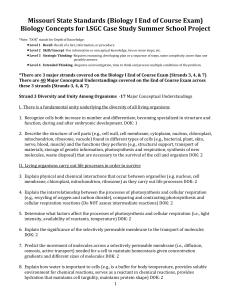 Missouri State Standards (Biology I End of Course Exam) Biology