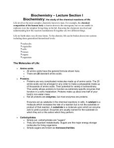 Biochemistry: the study of the chemical reactions of life