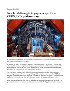 New breakthroughs in physics expected at CERN