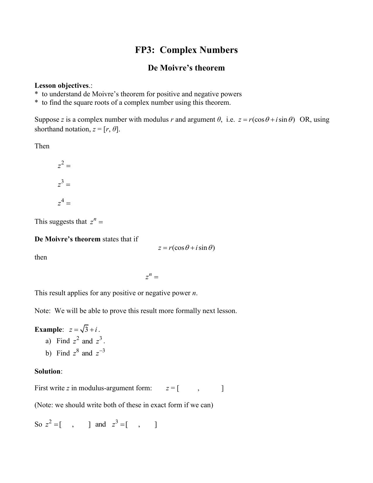 FP3: Complex Numbers - Schoolworkout co uk