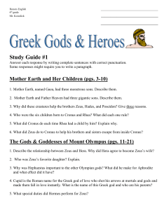 Honors English 6th grade Mr. Kowalick Study Guide #1 Answer