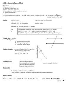 ACT Geometry Review Sheet