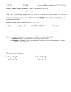 Sect 8.2 Systems of Linear Equations in Three Variables