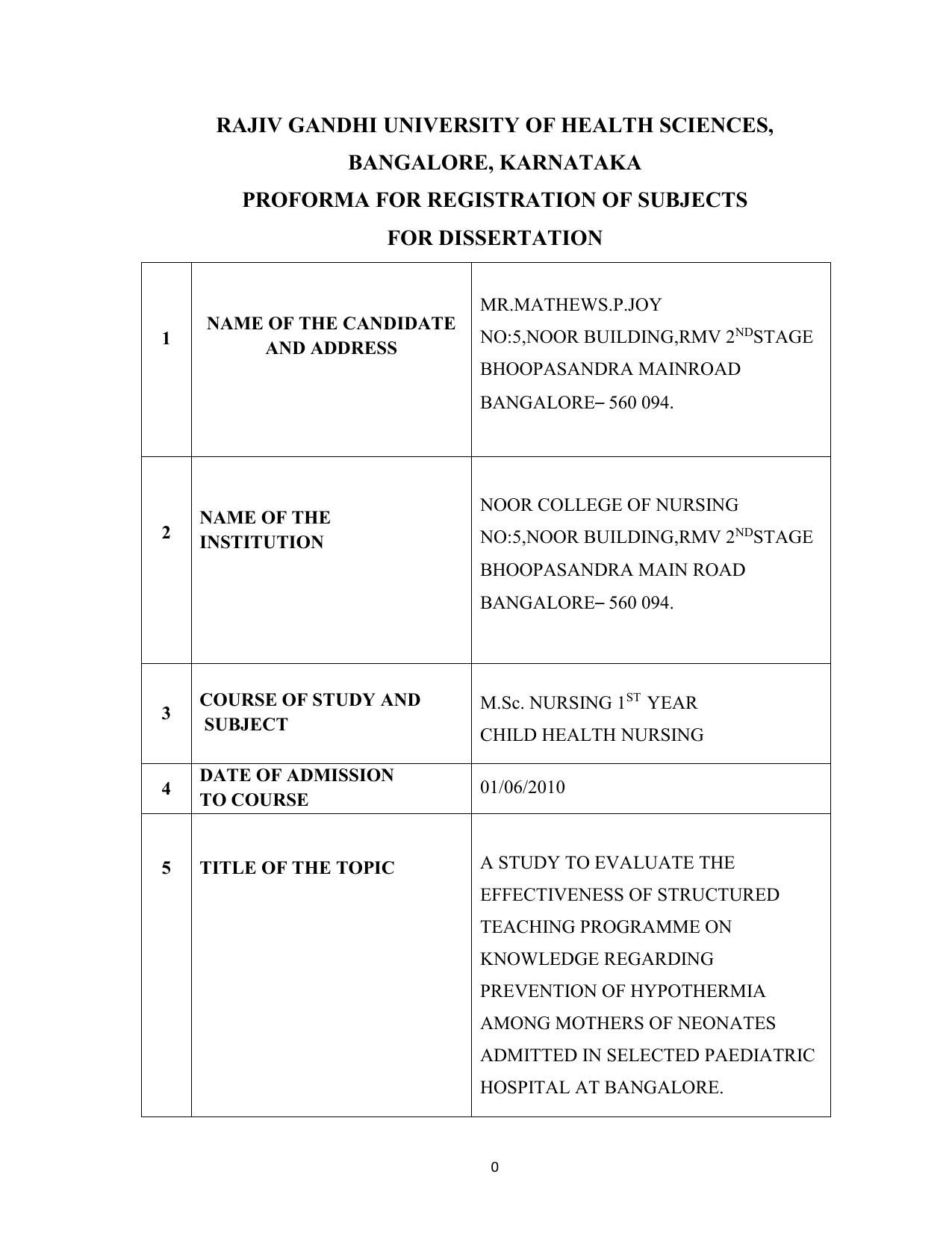 dissertation proforma rguhs