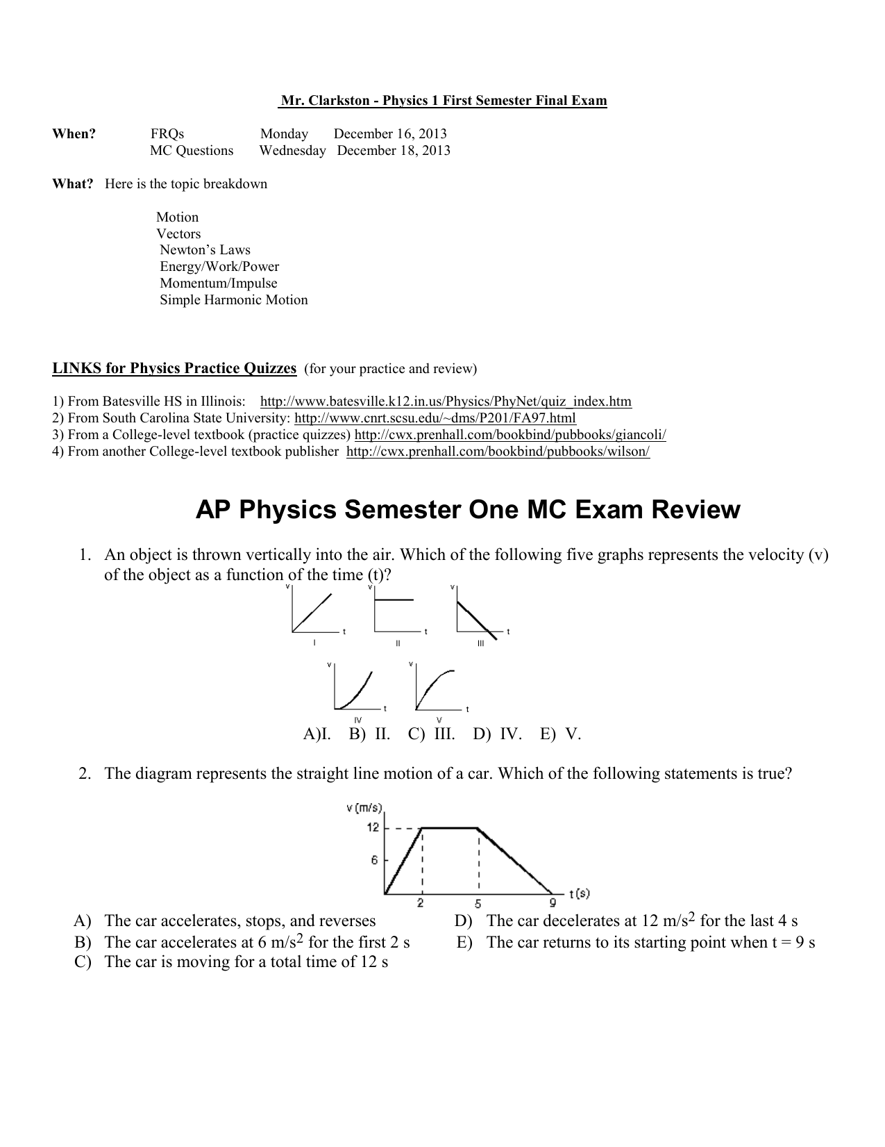 AP Physics Semester One Exam Review (Chapters 2