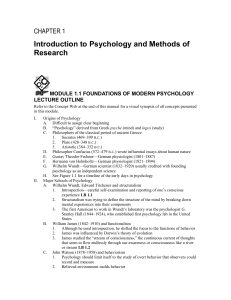 Module 1.1 Foundations of Modern Psychology Lecture Outline