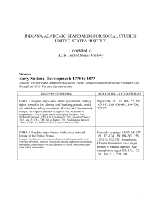INDIANA ACADEMIC STANDARDS FOR SOCIAL STUDIES