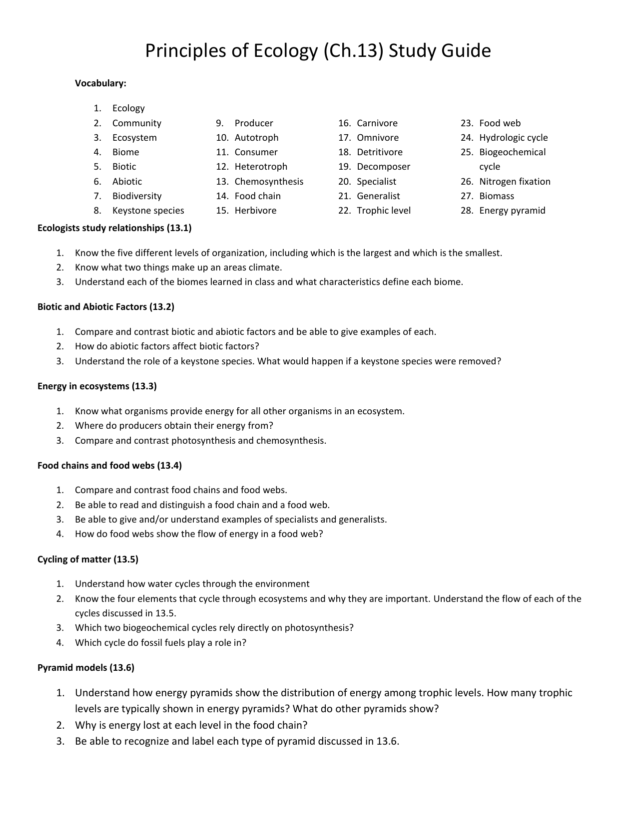 Principles of Ecology (Ch 13) Study Guide Vocabulary
