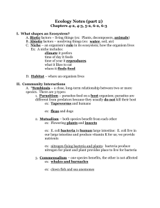 Ecology Notes Chapter 15