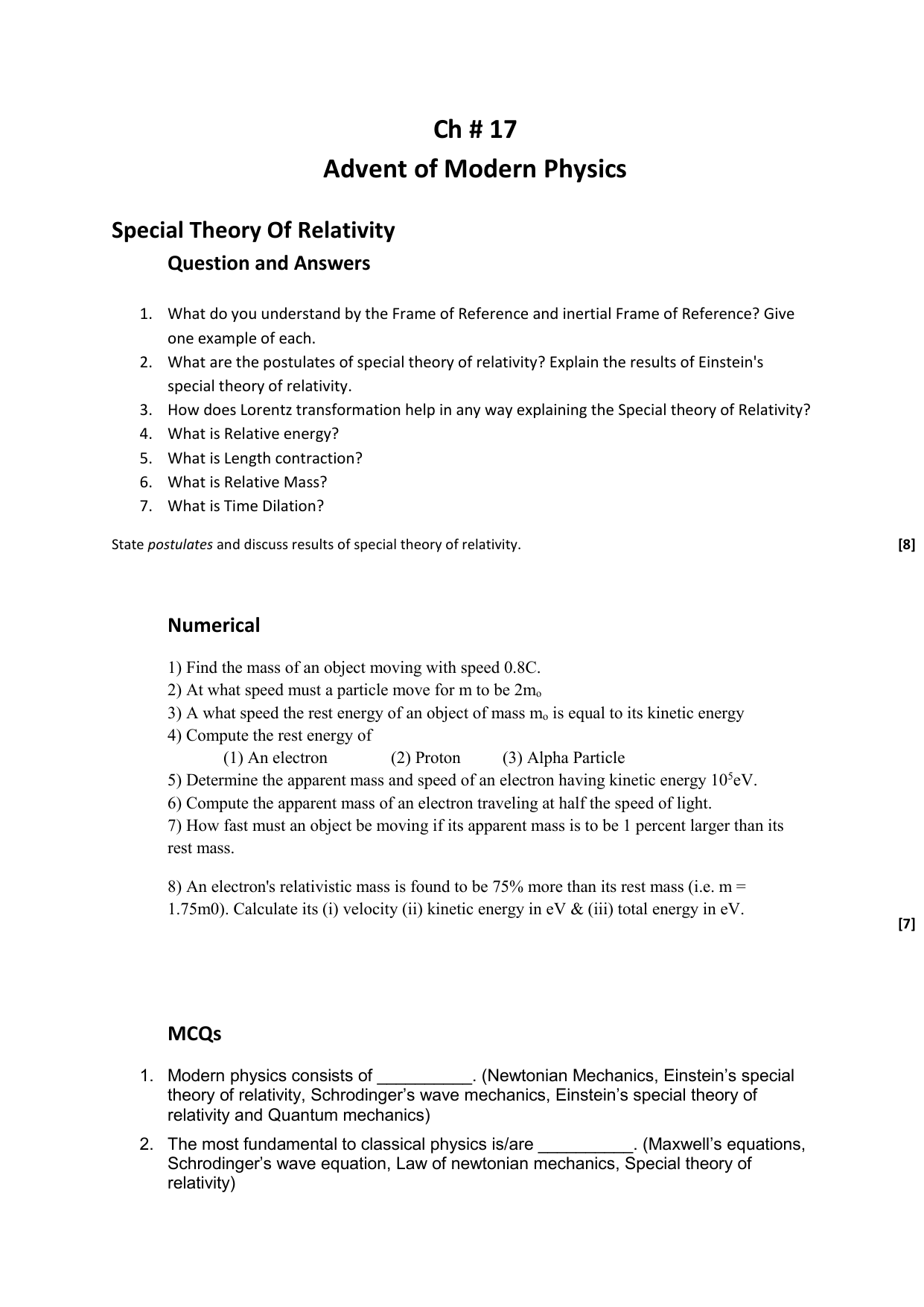 Ch # 17 Advent of Modern Physics Special Theory Of Relativity
