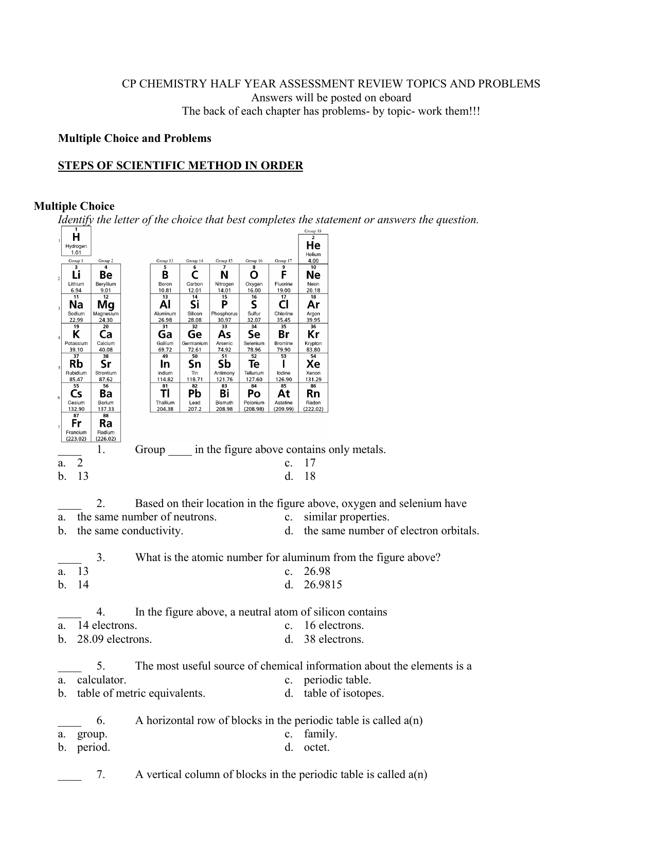 Snap Section 3 Reinforcement Periodic Table Word Search Answers