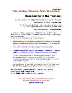 Responding to the Tsunami - Staffordshire Learning Net