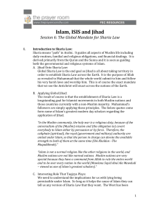 Islam, ISIS and Jihad Session 6: The Global Mandate for Sharia Law