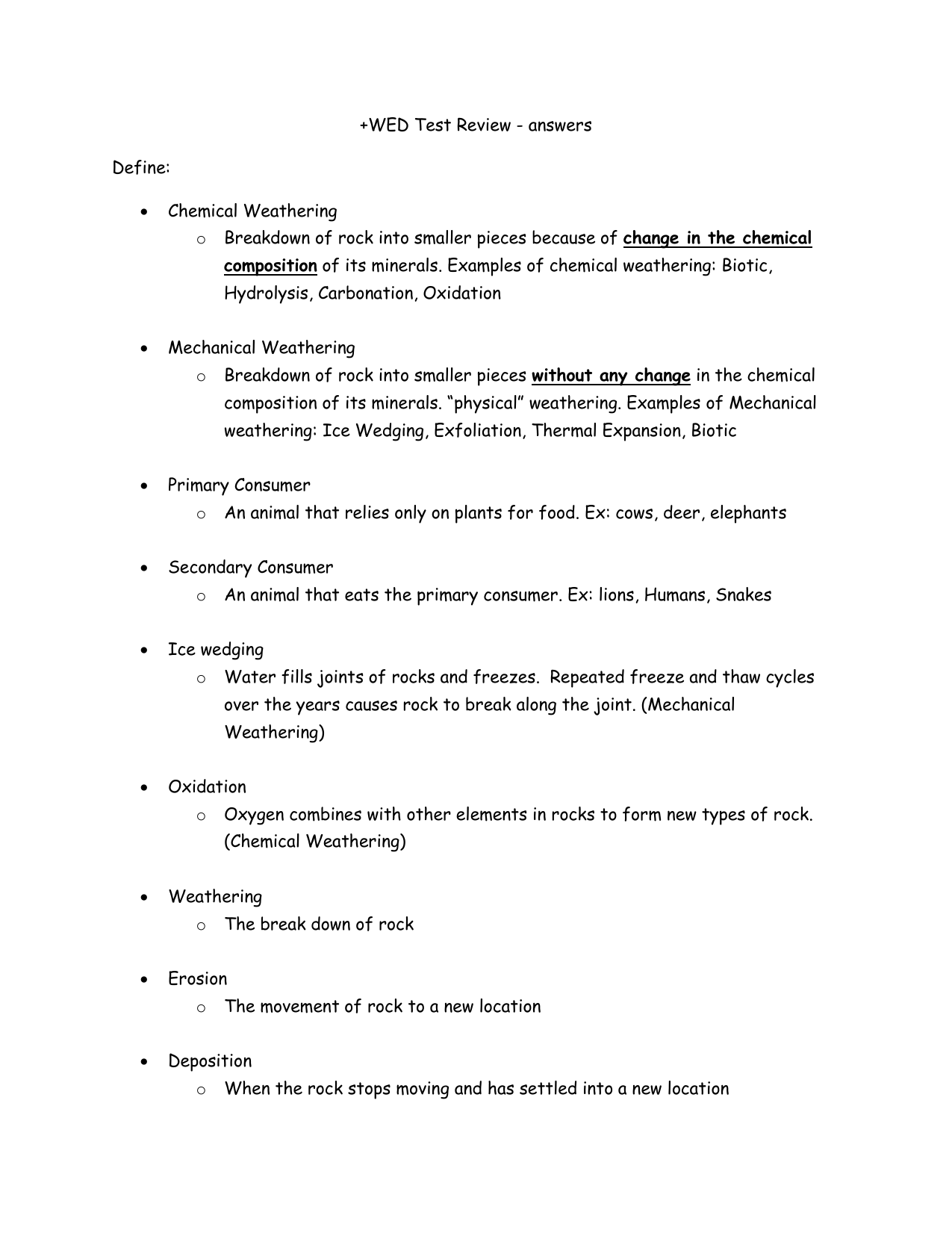 Wed Test Review Answers Define Chemical Weathering