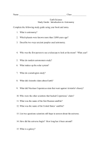 Name Class ______ Earth Science Study Guide: Introduction to