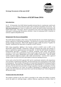 Strategy Document for the new GCAP