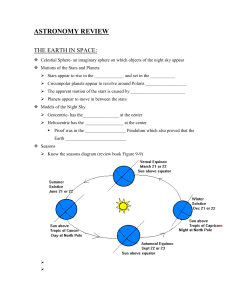 astronomy review - Earth Science R: 1(A,C)