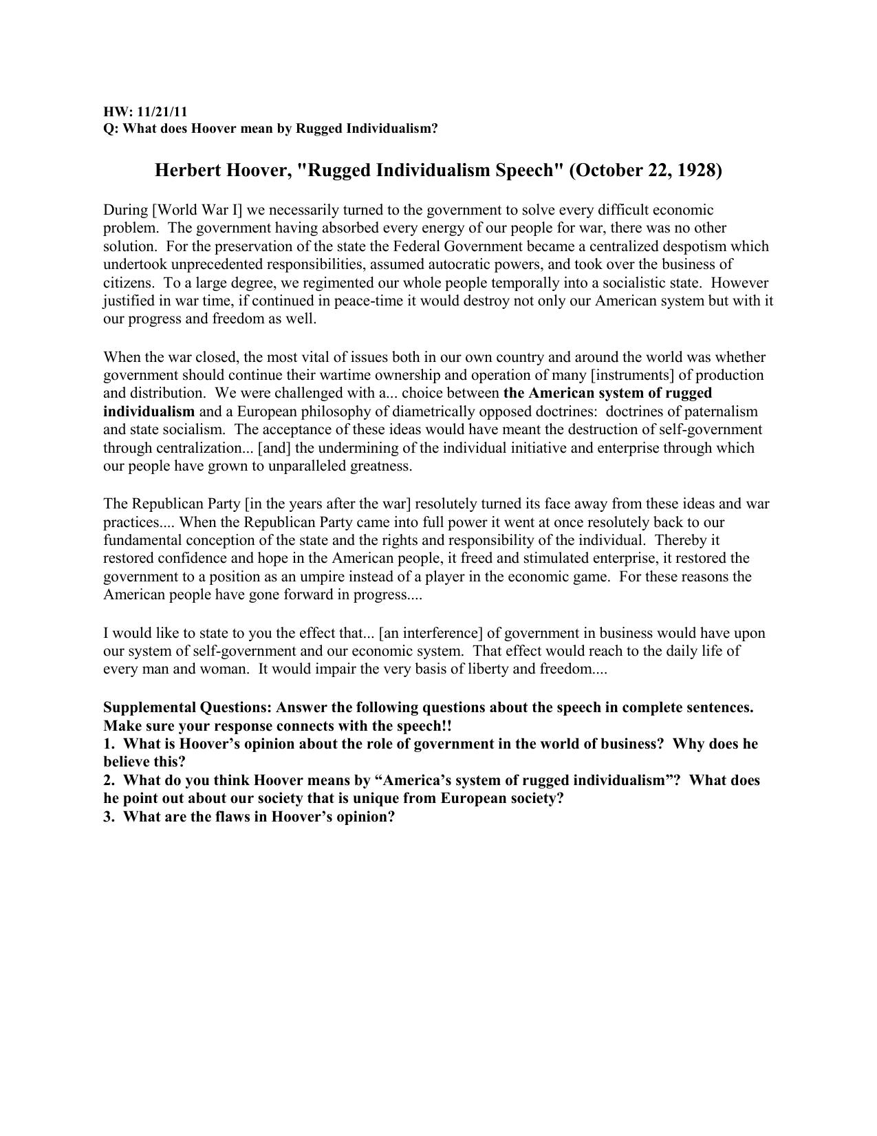 Herbert Hoover Rugged Individualism Sch October 22 1928