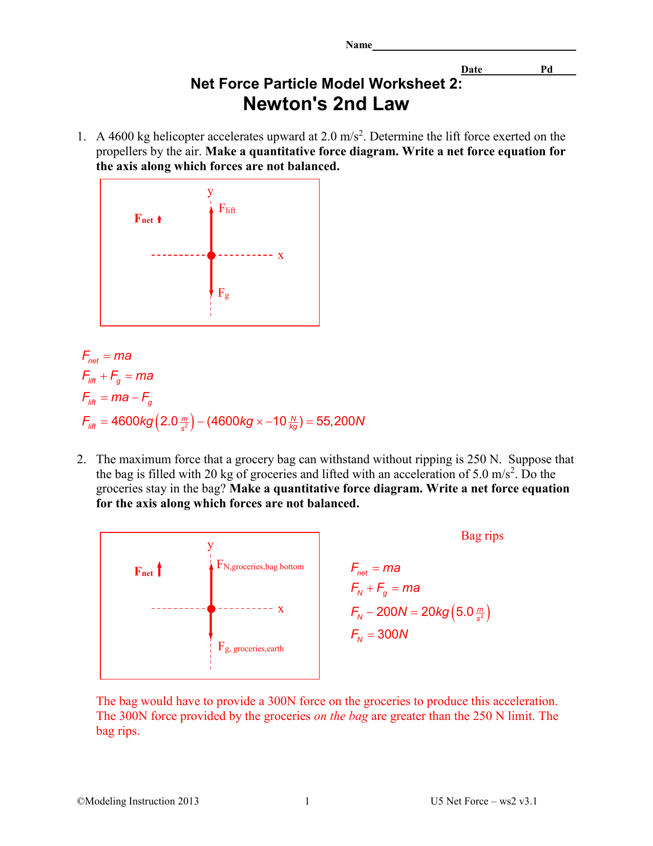Newton S 2nd Law Key Northwest Isd Moodle