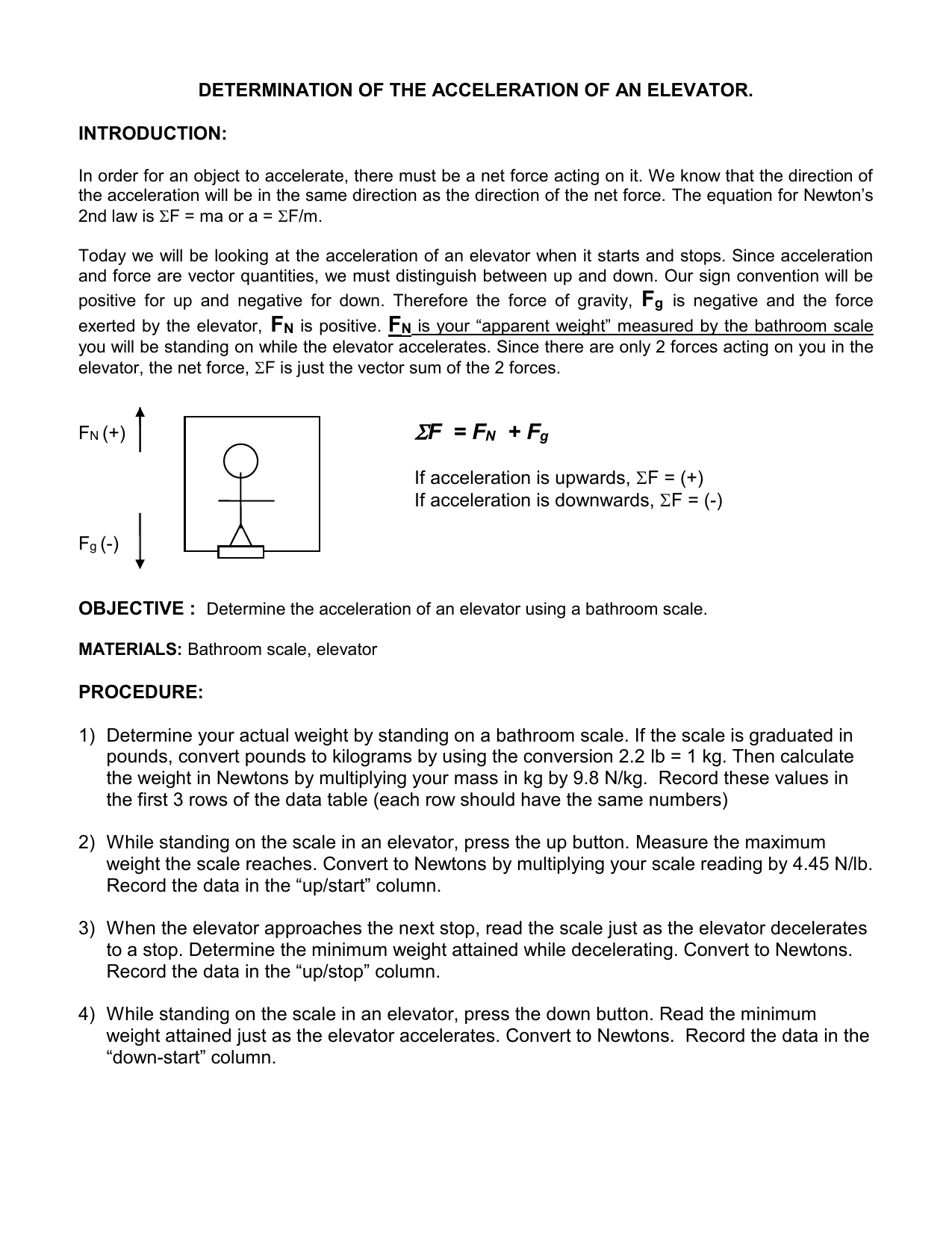 determination of the acceleration of an elevator